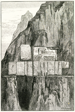 Engraving of Sir Henry Rawlinson copying the inscription of the Behiston Rock. From an original engraving in the 1895 edition of Graven in the Rock, by Samuel Kinns Editorial