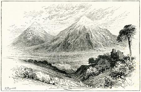 Gravure du mont Ararat, lieu d'atterrissage de l'arche de Noé. À partir d'une gravure originale de l'édition 1895 de Graven in the Rock, par Samuel Kinns Éditoriale