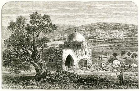 Engraving of Rachels tomb. From an original engraving in the 1895 edition of Graven in the Rock, by Samuel Kinns