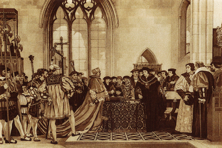 Sir Thomas More refuses Cardinal Wolseys request for money for Henry VIII as the matter was not discussed by parliament.