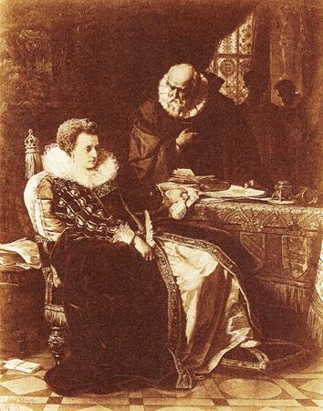 Chief Adviser Cecil encourages a reluctant Elizabeth I to sign the death warrant for Mary, Queen of Scots