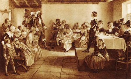der Lord of the Manor bricht ein Treffen für Puritan Children während der Regierungszeit von James I ab Editorial