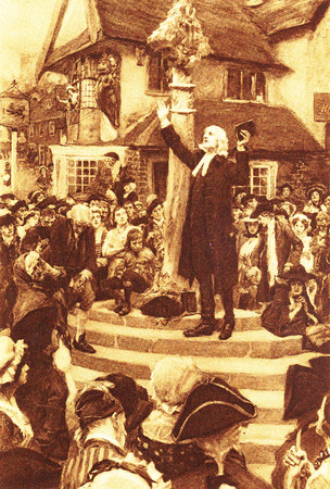 John Wesley preaching in the open air since he was banned from orthodox churches Editorial