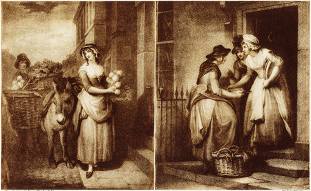 Two views of shopping in the 18th century show street hawkers selling fruit and fish