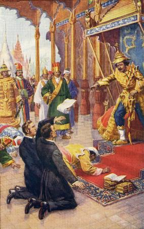 Farbiger Halbton des Kaisers von Burma, der eine Petition des baptistischen Missionars Adoniram Judson ablehnt, dass Christen nicht verfolgt werden. Von Judson der Held von Burma, 1923.