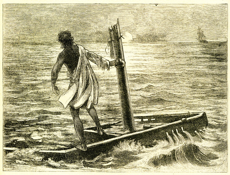 Engraving of a man cast adrift on a crude raft after a shipwreck. From an original engraving in the Boys of England magazine 1894. Editoriali