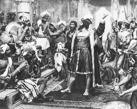 Vasco da Gama meets the Zamorin of Calicut in India during his round the world trip in 1497.