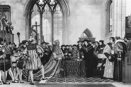 Sir Thomas More refuses Cardinal Wolsey's request for money for Henry VIII as the matter was not discussed by parliament.