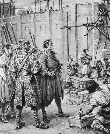 Guglielmo il Conquistatore supervisiona la costruzione di una torre a Londra nel 1078 con mura spesse 15 piedi. Da un dipinto originale di Paul Hardy.