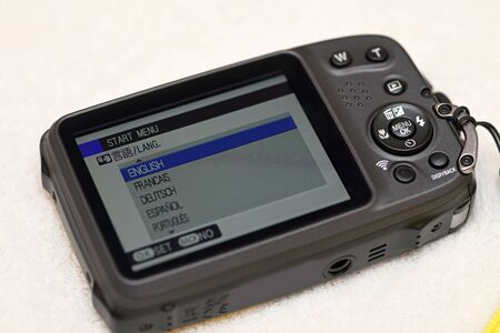 Information for setting the language on a new waterproof camera