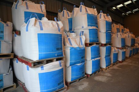 CHRISTCHURCH, NEW ZEALAND, DECEMBER 12, 2018: Several cubic metre bags of bulk fertiliser await shipment at a factory. Editorial