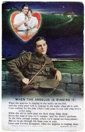 A World War One postcard featuring a verse of the poem When the Angelus is Ringing, one of three cards in the series.
