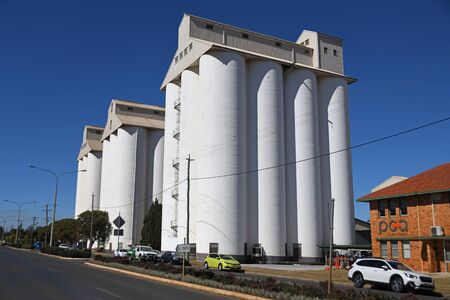 KINGAROY, AUSTRALIA, JULY 30 2019: the iconic Kingaroy Peanut Silos in Haly Street, Kingaroy, Queensland, famous last century for its local peanut crops.