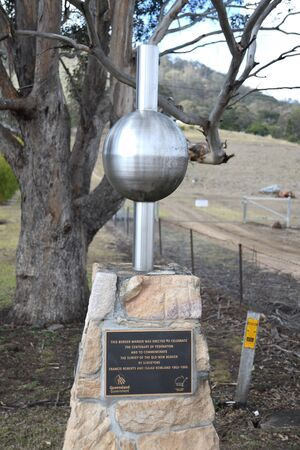 Memorial on the border between Queensland and New South Wales near Killarney, honouring surveyors Francis Roberts and Isaiah Rowland
