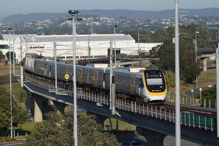 BRISBANE, AUSTRALIA, JULY 31, 2019: The TransLink train carries passengers from Brisbane BNE airport international terminal station to the Gold Coast, Queensland