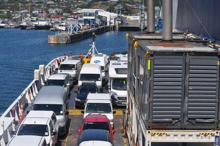 PICTON, NEW ZEALAND, FEBRUARY 9, 2020: The  Interislander approaches Picton wharf, New Zealand, February 9, 2020. Editorial