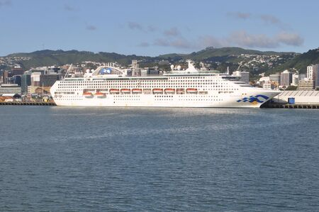 WELLINGTON, NEW ZEALAND, FEBRUARY 9, 2020: The Sea Princess rests at her moorings in Wellington, New Zealand, February 9, 2020.