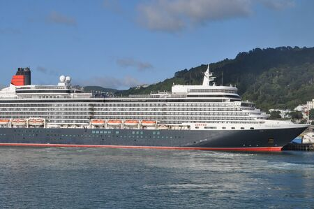 WELLINGTON, NEW ZEALAND, FEBRUARY 9, 2020: The Queen Elizabeth rests at her moorings in Wellington, New Zealand, February 9, 2020.