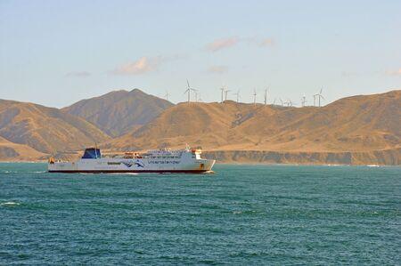 WELLINGTON, NEW ZEALAND, FEBRUARY 9, 2020: The Interislander ferry Kaiarani sails into Wellington Harbour, New Zealand, February 9, 2020.