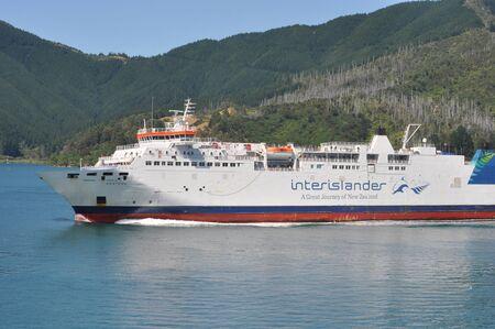 PICTON, NEW ZEALAND, FEBRUARY 9, 2020: The Interislander ferry Aratera leaves Picton for Wellington, New Zealand, February 9, 2020.