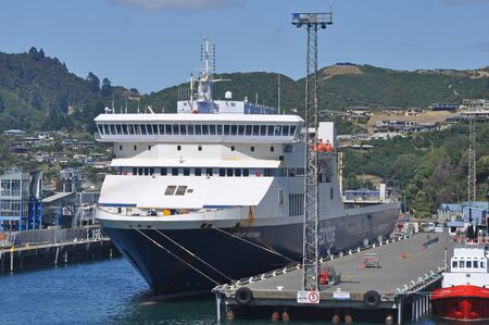 PICTON, NEW ZEALAND, FEBRUARY 9, 2020: The Blueridge ferry Strait Ferona rests at her moorings in Picton, New Zealand, February 9, 2020.