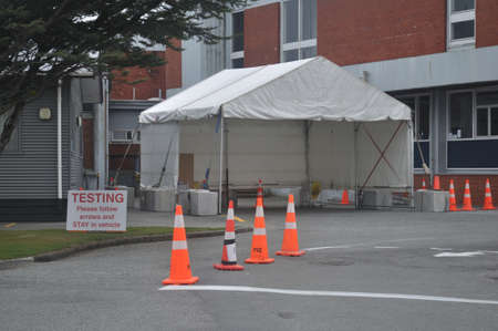 GREYMOUTH, NEW ZEALAND; APRIL 11, 2020: The Covid 19 testing station at Greymouth Base Hospital during the level 4 lockdown in New Zealand, April 11,  2020 Editorial