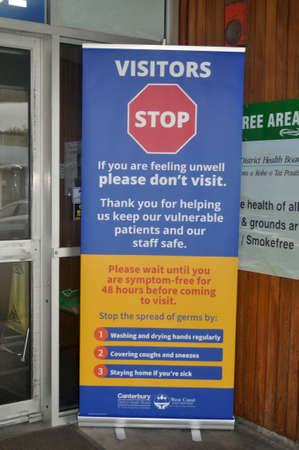GREYMOUTH, NEW ZEALAND; APRIL 11, 2020: Signage restricts visitors to the Greymouth Base Hospital during the level 4 lockdown in New Zealand, April 11,  2020