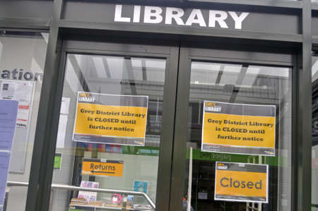 GREYMOUTH, NEW ZEALAND, APRIL 11, 2020: Greymouth public library is closed during the Covid 19 lockdown in New Zealand, April 11,  2020 Editorial