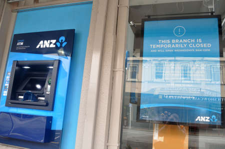 GREYMOUTH, NEW ZEALAND, APRIL 11, 2020: The ANZ bank restricts its hours during the Covid 19 lockdown in New Zealand, April 11,  2020