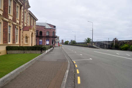 GREYMOUTH, NEW ZEALAND, APRIL 11, 2020: Mawhera Quay, normally a busy thoroughfare on a Saturday morning, is empty during the Covid 19 lockdown in New Zealand, April 11,  2020