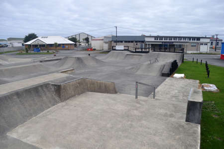 GREYMOUTH, NEW ZEALAND, APRIL 11, 2020: The Greymouth skating park lies eeriely silent on a Saturday morning  during the Covid 19 lockdown in New Zealand, April 11,  2020
