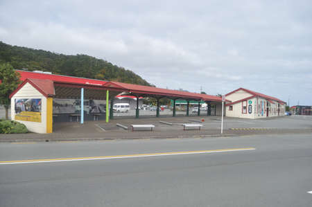 GREYMOUTH, NEW ZEALAND, APRIL 11, 2020: Greymouth Railway Station closed down during the Covid 19 lockdown in New Zealand, April 11,  2020