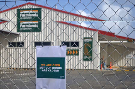 GREYMOUTH, NEW ZEALAND, APRIL 18 2020: Signage shows that a business has restricted access during the Level 4 Covid 19 lockdown in New Zealand, April 18,  2020 Editorial