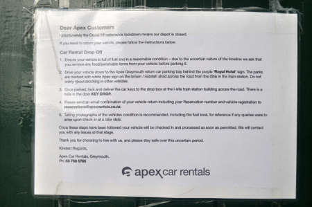 GREYMOUTH, NEW ZEALAND, APRIL 18 2020: Signage shows that a car rental business is closed during the Level 4 Covid 19 lockdown in New Zealand, April 18,  2020 Editorial