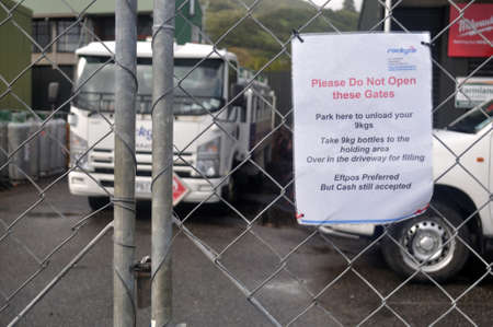 GREYMOUTH, NEW ZEALAND, APRIL 18 2020: Signage shows that a gas bottle business is closed during the Level 4 Covid 19 lockdown in New Zealand, April 18,  2020