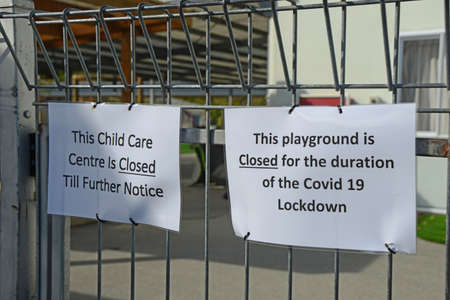 Signage shows that a preschool playground is closed for the Covid 19 lockdown in New Zealand, March 2020