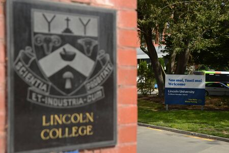 Signage for Lincoln University, an agricultural university in Canterbury, South Island, New Zealand