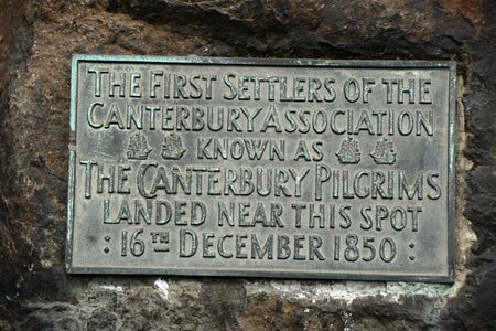 Detail of a plaque on Pilgrim Rock, a monument to the original Canterbury Pilgrims who settled in Christchurch, New Zealand, in December 1850, Lyttleton Harbour, New Zealand