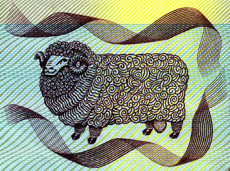 A merino ram on the old Australian $2 bank note featuring John MacArthur Stock Photo