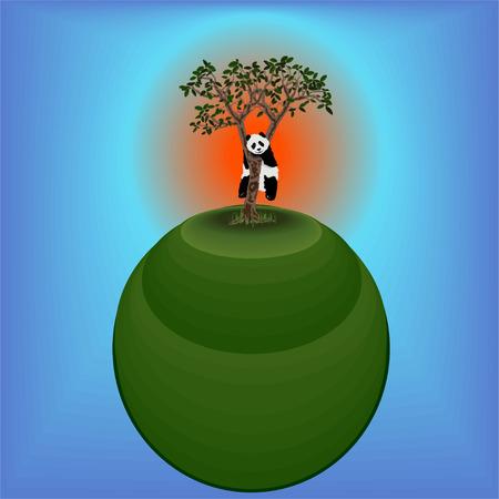 Panda on the tree. Tree on the planet Illustration
