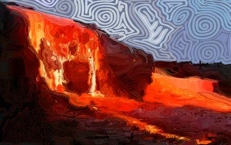 Fiery rivers of lava.
