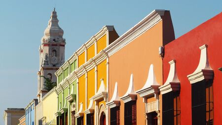 old town: Colorful Street in Old Town Campeche, Mexico