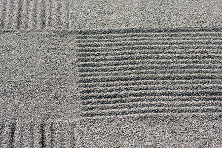 raked: Zen garden raked gravel pattern detail, Tofuku-ji Temple, Zen Garden, Kyoto, Japan. Stock Photo
