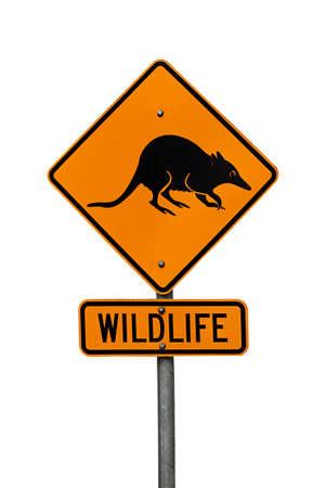 roadsign: Australian native wildlife roadsign showing a bandicoot Stock Photo