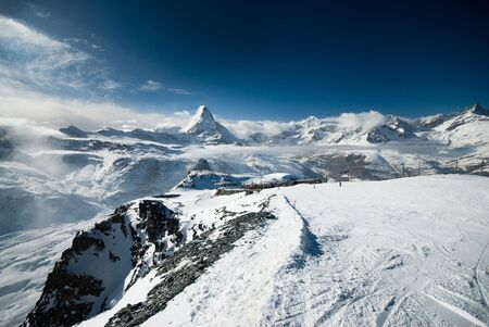 Cloudy Matterhorn. View taken from the Gornergrat near Zermatt