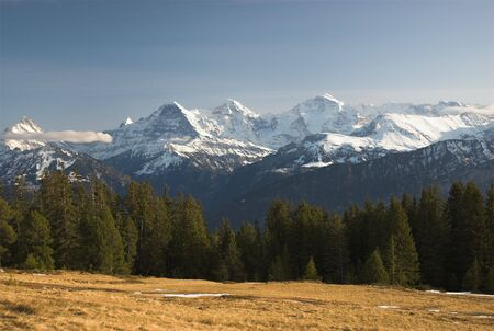 eiger: View from Niederhorn with the famous Eiger, M�nch and Jungfrau.