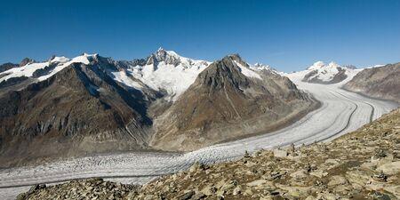 wallis: Aletsch glacier, view from Eggishorn, Wallis, Switzerland. Stock Photo