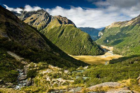 scenicznego routeburn widok na dolinę, na południe wyspy, Nowa Zelandia.