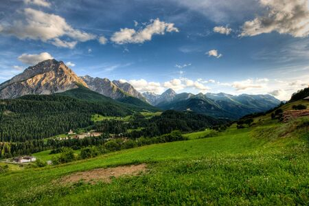 Panoramic view on late afernoon at Scuol, Switzerland.