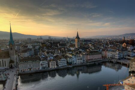 View from Grossmuenster, Zürich, Switzerland. Stock Photo